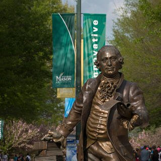 George Mason statue in spring