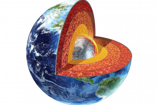 Cutaway view of the Earth's core