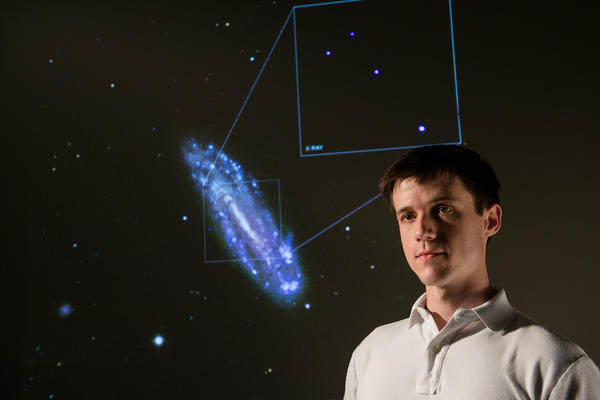 Nathan Secrest, PhD student in physics discovers a black hole in spiral galaxy NGC 4178.