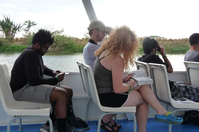 Some of the students observing wildlife from a boat on the Tarcoles River. Pictured L-R: Nick Sharma, Jonathan Clark, Lauren Brown, Vin Singh, Jimmy (guide)