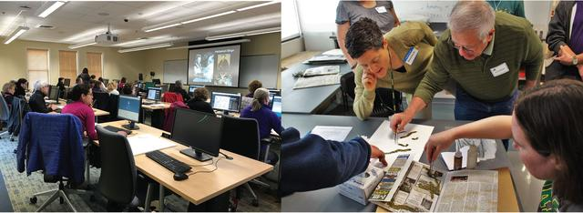 Left: Workshop for the Virginia Master Naturalists held at the Smithsonian-Mason Campus in Front Royal, 2017. Right: Workshop for the Virginia Native Plant Society held at the Ted R. Bradley Herbarium, 2016
